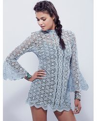 Free People | Blue Womens Mock Neck Lace Tunic | Lyst