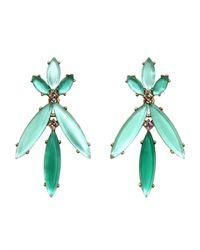Oscar de la Renta - Green Marquise Stone Resin Earring - Lyst