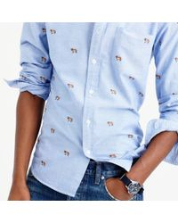 J.Crew | Blue Slim Vintage Oxford Shirt With Embroidered St. Bernards for Men | Lyst