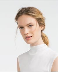 Zara | White High Neck Top | Lyst