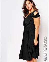 ASOS - Black Wedding Wrap Front Midi Dress - Lyst