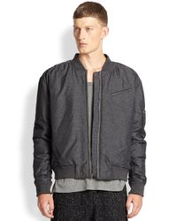 T By Alexander Wang - Gray Nylon Bomber Jacket for Men - Lyst