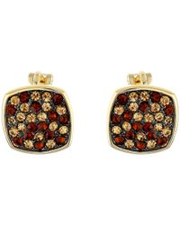 Lauren by Ralph Lauren | Brown Pave Cushion Clip Earrings | Lyst