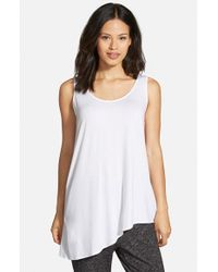 Eileen Fisher - White Asymmetrical U-neck Shell - Lyst