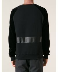 Les Hommes - Black Leather Panel Sweatshirt for Men - Lyst
