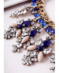 Missguided | Statement Chain Crystal Drop Necklace Blue | Lyst