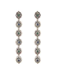 Gucci   Blue Crystal And Palladium-Plated Earrings   Lyst