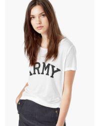 Mango - White Printed Text T-shirt - Lyst