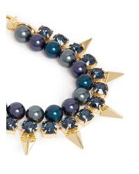 Joomi Lim | Blue Arrowhead Spike Crystal Faux Pearl Bracelet | Lyst