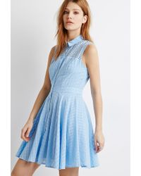 Forever 21 | Blue Eyelet Yoke A-line Dress | Lyst