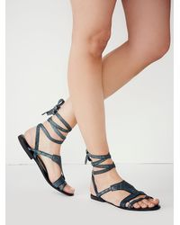 ba03b9f4035c Lyst - Free People Oliviera Wrap Sandal in Blue