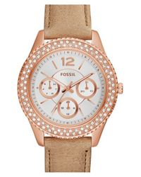 Fossil - Pink 'stella' Crystal Bezel Leather Strap Watch - Lyst