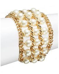 Catherine Stein | Metallic Faux Pearl Three Row Bracelet | Lyst