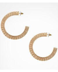 Express | Metallic Flat Metal Mesh Hoop Earrings | Lyst