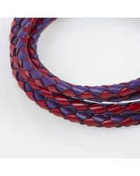 Paul Smith | Men's Purple And Red Leather Wrap Bracelet for Men | Lyst