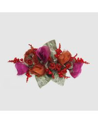 Gucci | Red Flower Brooch In Silk And Cotton | Lyst