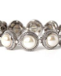 Eddie Borgo - Metallic Silver-plated Pave Pearl Dome Bracelet - Lyst