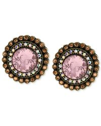 Betsey Johnson | Pink Gold-tone Crystal Gem Button Stud Earrings | Lyst