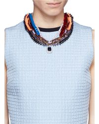 Venna | Multicolor Crystal Pendant Spike Chain Necklace | Lyst
