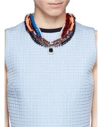 Venna - Multicolor Crystal Pendant Spike Chain Necklace - Lyst