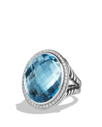 David Yurman | Dy Signature Oval Ring With Blue Topaz And Diamonds | Lyst