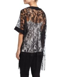 Neiman Marcus - Gray Floral-print Lacy Fringe Kimono - Lyst