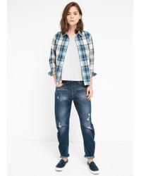 Mango - Blue Chestpocket Check Shirt - Lyst