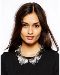 French Connection - Metallic Leafy Peter Pan Collar Necklace - Lyst