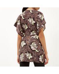 River Island - Brown Khaki Floral Print Wrap Front Top - Lyst