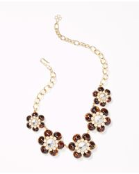 Ann Taylor - Metallic Margherita Floral Necklace - Lyst