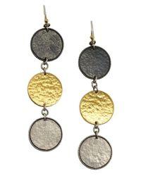 Gurhan - Metallic Silver Contour Triple Round Drop Earrings - Lyst