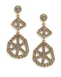 Oscar de la Renta | Metallic Swarovski Crystal Scalloped Web Drop Earrings/goldtone | Lyst