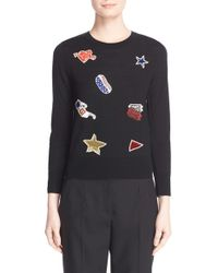 Marc Jacobs - Black Embroidered Patch Wool Sweater - Lyst
