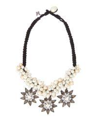 Max Mara | White Cambio Pearl and Diamante Star Necklace | Lyst