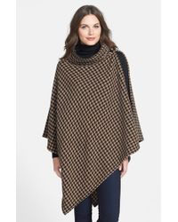 BOSS - Brown Wool Blend Houndstooth Poncho - Lyst