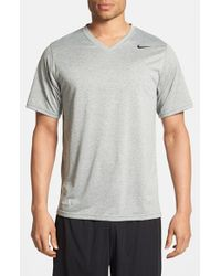 Nike - Gray 'legend' Dri-fit V-neck T-shirt for Men - Lyst