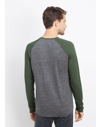 VINCE | Gray Cotton Jaspé Jersey Raglan Long Sleeve Tee for Men | Lyst