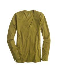 J.Crew - Natural Tissue Long-sleeve V-neck T-shirt - Lyst