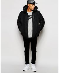 Nike | Black Downtown Twill Jacket With Hood 678271-010 for Men | Lyst