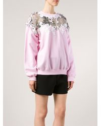 Alexis Mabille - Pink Embellished Cotton-Blend Sweatshirt - Lyst