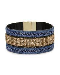 Cara | Blue Gold Sparkle Strap Cuff | Lyst