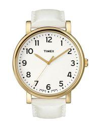 Timex - Metallic 'originals' Leather Strap Watch - Lyst