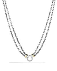 "David Yurman - Metallic Double Wheat Chain Necklace With Gold, 16"" - Lyst"