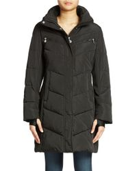 Calvin Klein | Black Colorblocked Puffer Coat | Lyst