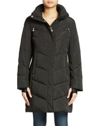 Calvin Klein | Black Colorblock Puffer Coat | Lyst