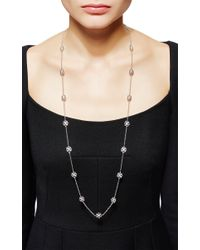 Buccellati - Metallic Long Sautoir Necklace With 18 Engraved Motifs In White Gold - Lyst