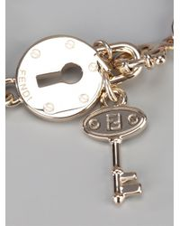 Fendi - Pink Lock and Key Bracelet - Lyst
