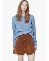 Mango - Blue Mixed Knit Sweater - Lyst