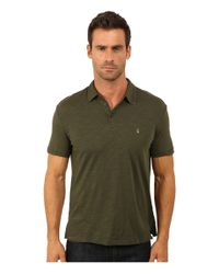 John Varvatos | Green Soft Collar Peace Polo With Contrast Stitching And Peace Sign Chest Embroidery K1381r3b for Men | Lyst