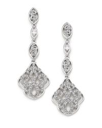 Adriana Orsini | Metallic Garden Gate Pavé Crystal Triple-drop Earrings/silvertone | Lyst